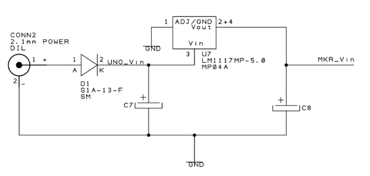 Schematic of the external power supply on the MKR2UNO Plus board