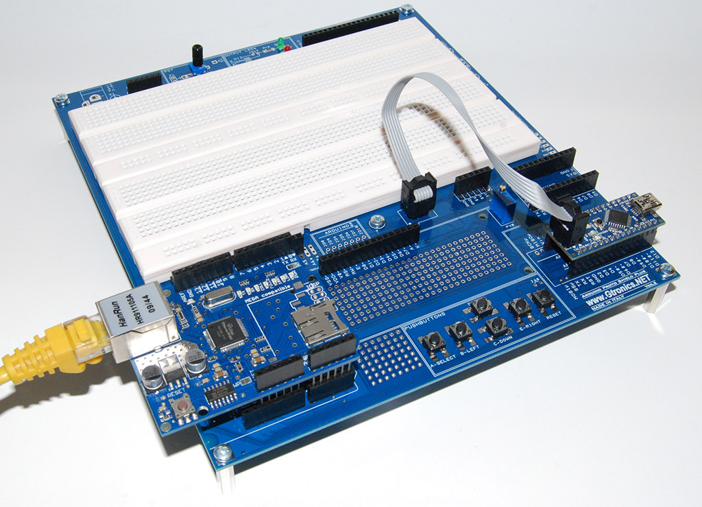 Proto Shield Plus using Arduino NANO with a third-party Ethernet Shield