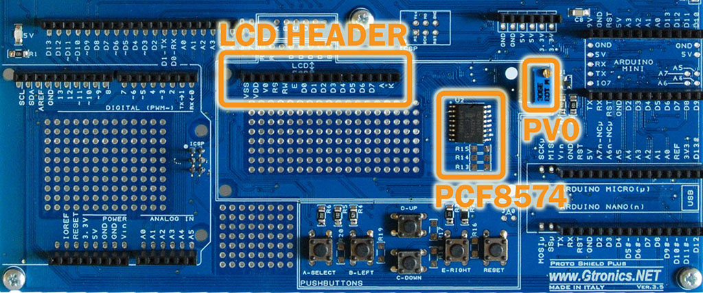 The Proto Shield Plus LCD Header