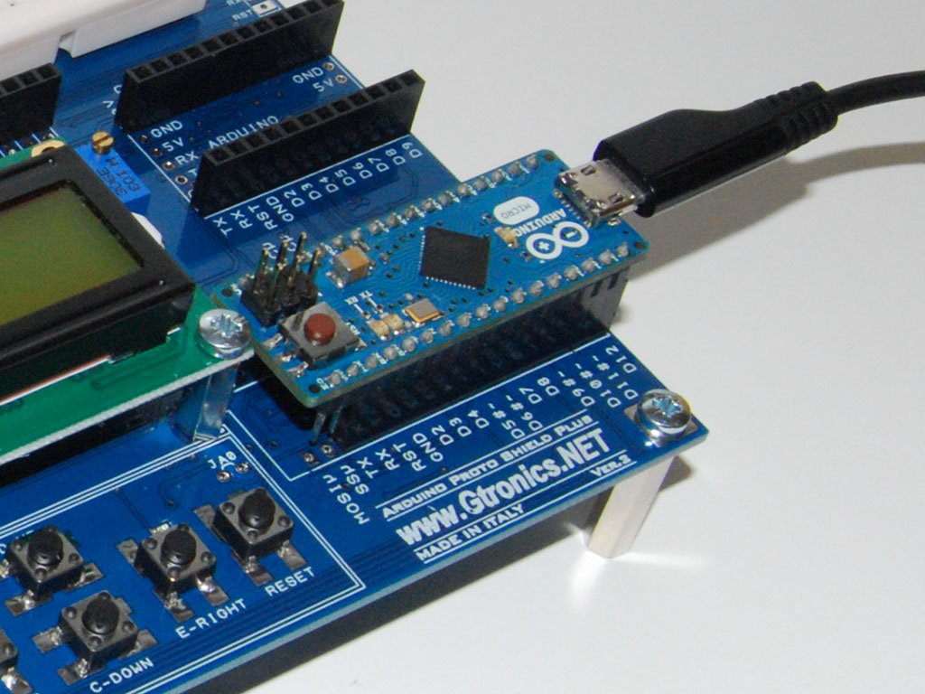 Close up of the Proto Shield Plus with the Arduino NANO