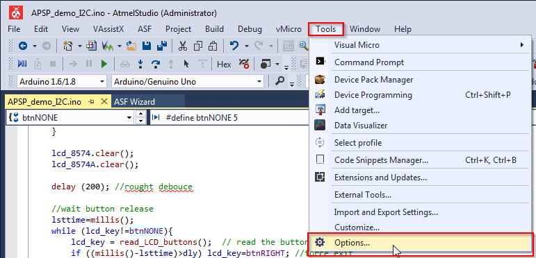 Enabling Line numbers in Visual Micro For Atmel Studio