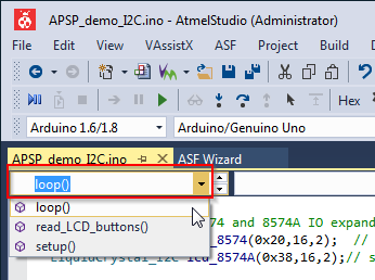 Direct jump to the desired function in Visual Micro for Atmel Studio