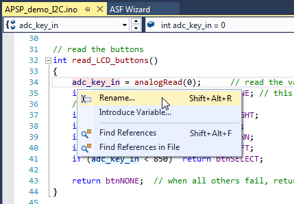 Easy access to find and rename in Visual Micro for Atmel Studio