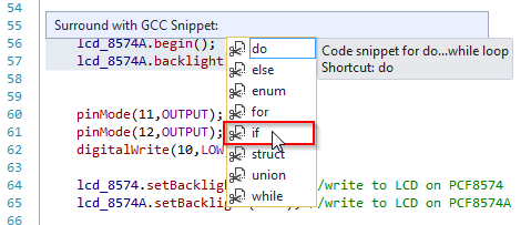Surround with (code snippets) in Visual Micro for Atmel Studio