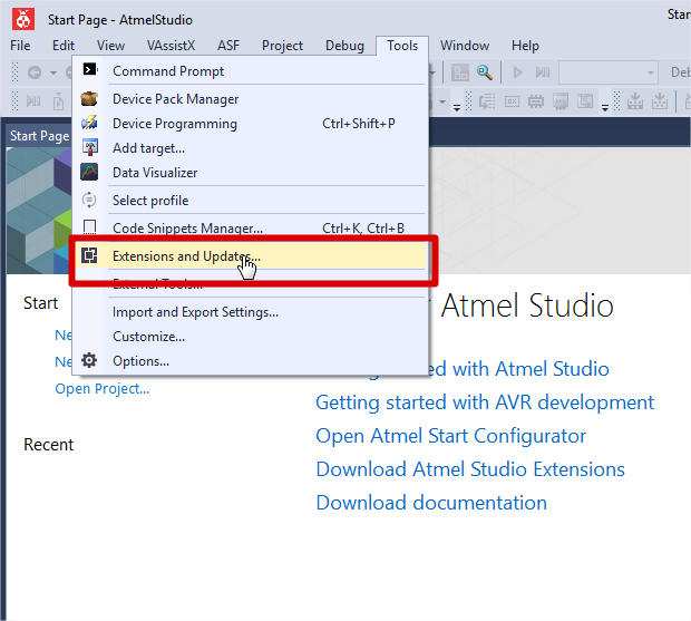 Installing Visual Micro for Atmel Studio